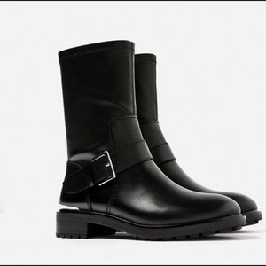Zara biker boots with stretch leg - size 6.5M